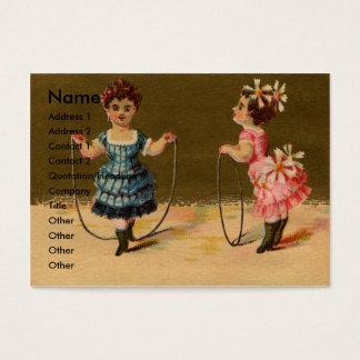 Twee Meisjes spelen met Kabel en Hoepel Visitekaartjes