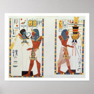 Twee Muurschilderingen van de Graven van de Koning Poster