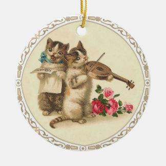 Twee Muzikale Katjes zingen en spelen Viool Rond Keramisch Ornament