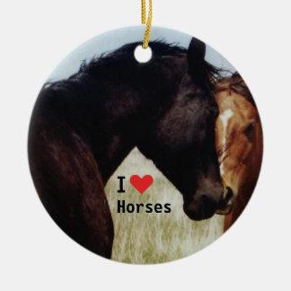 Twee Paarden die elkaar begroeten Rond Keramisch Ornament