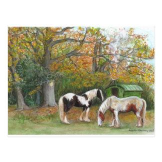 Twee paarden en een zigeunerwagen - Briefkaart