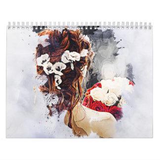 Twee pagina middelgrote witte kalender met