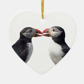 Twee papegaaiduikers keramisch hart ornament
