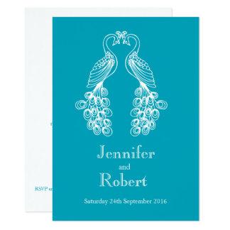 Twee Peafowl blauwgroen witte huwelijksuitnodiging Kaart