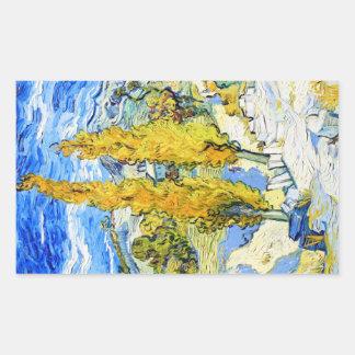 Twee Populieren op een Heuvel Vincent van Gogh Rechthoekige Sticker