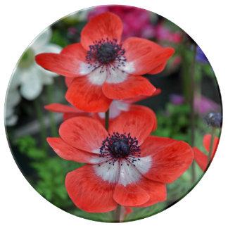 Twee rode papavers bloemendruk porselein bord