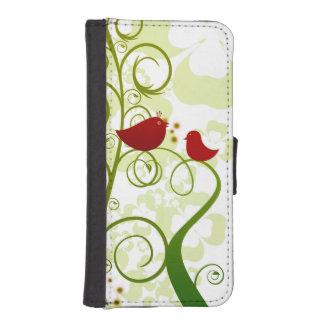 Twee rode vogels in een boomiPhone 5/5s plus iPhone 5 Portemonnee Hoesjes