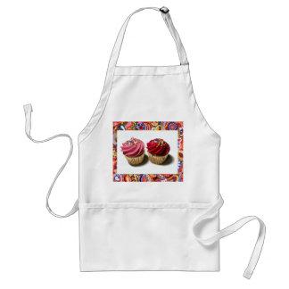 Twee Roze Cupcakes Standaard Schort