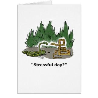 Twee slangen, ontspannen één en beklemtoonde kaart