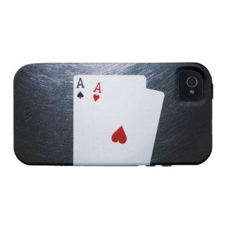 Twee Speelkaarten van Azen op Roestvrij staal Vibe iPhone 4 Cover