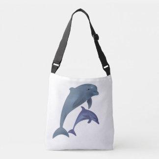 Twee Tropische dolfijnen die naast elkaar springen Crossbody Tas