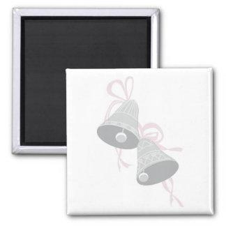 Twee Verfraaide Klokken van de Zilveren bruiloft Vierkante Magneet