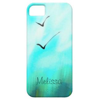 Twee Vogels die van de Zomer Blauwe Waterverf Barely There iPhone 5 Hoesje