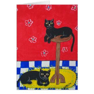 Twee Zwarte Katten Kaart