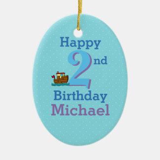 Tweede Verjaardag, Twee Éénjarigen, Boot en Naam Keramisch Ovaal Ornament
