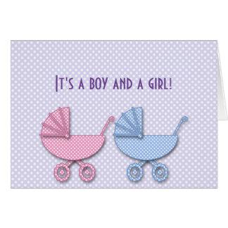 tweeling jongen & meisjesstipwandelwagen - giften wenskaart