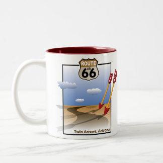Tweeling Pijlen, Arizona - Historische Route 66 Tweekleurige Koffiemok