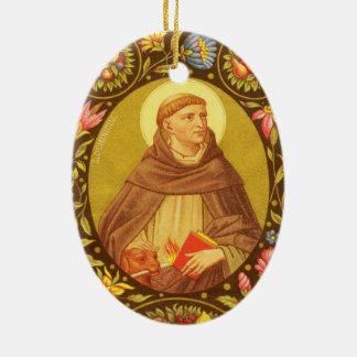 Tweezijdige St. Dominic de Guzman (PM 02) Keramisch Ovaal Ornament