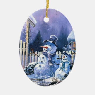 two_snowmen_old_christmas_oval _ornament keramisch ovaal ornament