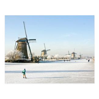 Typisch Nederlands ijs die in Kinderdijk Holland Briefkaart