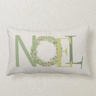 Typografie NOEL met de kroon van Kerstmis Lumbar Kussen