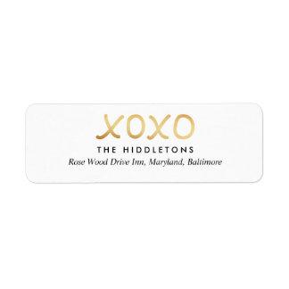 Typografie van de Folie XOXO van Faux van de Etiket