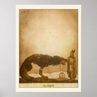 Tyr en Fenrir door John Bauer Poster