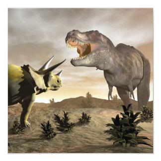 Tyrannosaurussen die bij 3D triceratops brullen - Kaart
