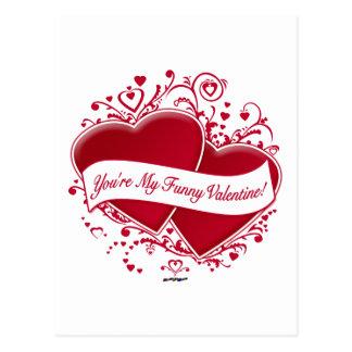 U bent Mijn Grappig Valentijn! Rode Harten Briefkaart