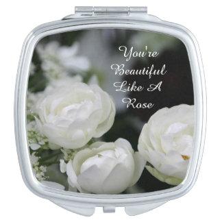 U bent Mooi Wit toenam Compacte (vierkante) Make-up Spiegeltjes