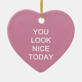 U kijkt vandaag Nice Keramisch Hart Ornament