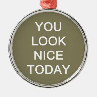 U kijkt vandaag Nice Zilverkleurig Rond Ornament