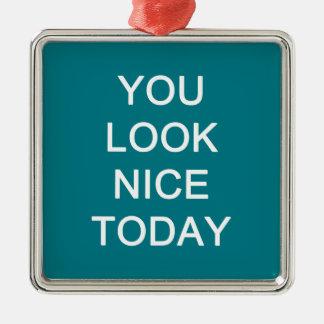U kijkt vandaag Nice Zilverkleurig Vierkant Ornament