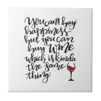U kunt geen Geluk kopen maar u kunt Wijn kopen Tegeltje
