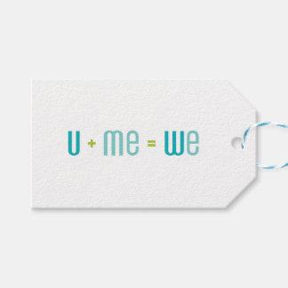 U + Me het Label van de Gift (Turkoois en Aqua) Cadeaulabel