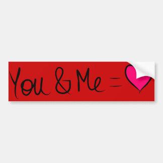U & me = Liefde Bumpersticker