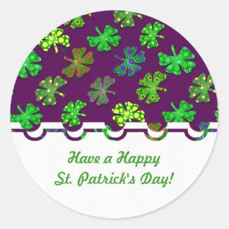 U-oogst Exotische Ierse Klavers 4 van de Kleur de Ronde Stickers