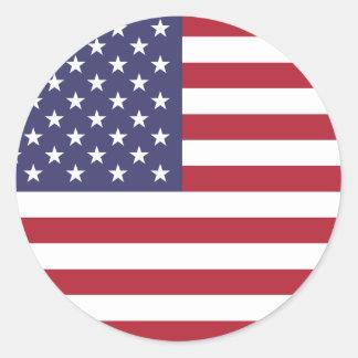 U.S.A. Vlag Ronde Sticker