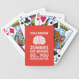 U weet het - de Zombieën eten de Grap van Hersenen Bicycle Speelkaarten