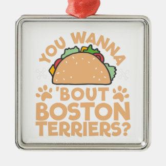 U wilt aan de Periode Boston Terriers van de Taco? Zilverkleurig Vierkant Ornament