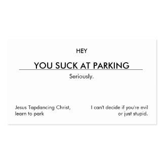 U zuigt bij parkeren. (schone klantgerichte visitekaartjes