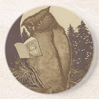 Uil die een Boek lezen Zandsteen Onderzetter