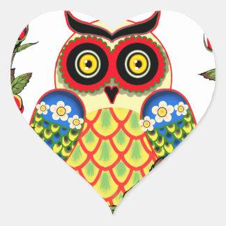 Uil en de Mexicaanse stijl van Rozen Hart Sticker