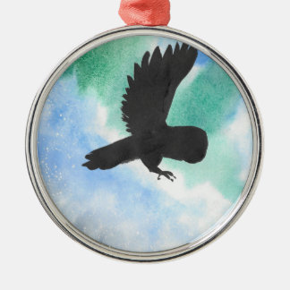 Uil en Noordelijke Lichten Zilverkleurig Rond Ornament