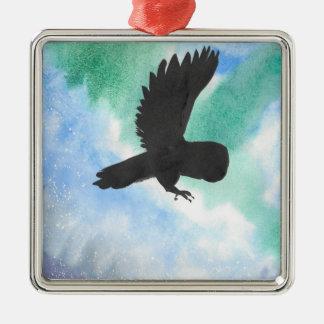 Uil en Noordelijke Lichten Zilverkleurig Vierkant Ornament