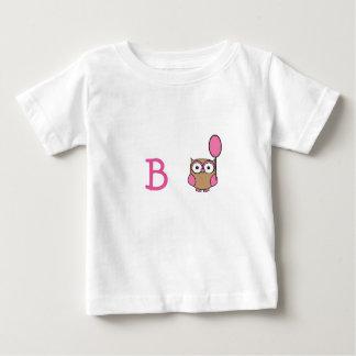 Uil met monogram met Roze Ballon Baby T Shirts