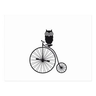 uil op oude vintage fiets briefkaart