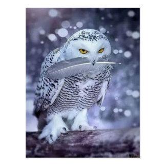 Uil van de sneeuw briefkaart
