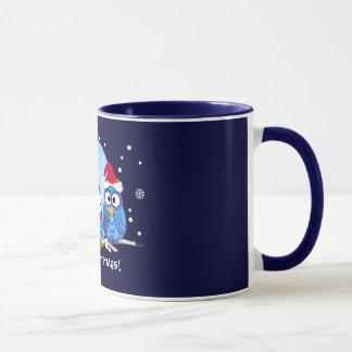 Uilen met de pettenmok van de Kerstman Mok
