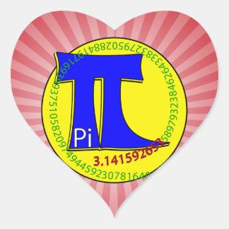 Uiteindelijk Symbool 3.14 van pi Hart Stickers
